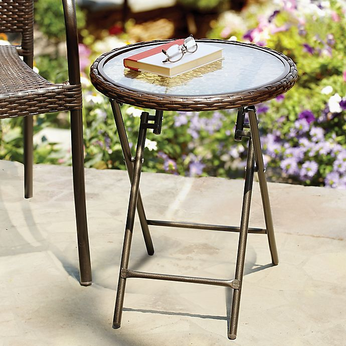 Pleasant Stratford Wicker Folding Accent Table In Bronze Bed Bath Cjindustries Chair Design For Home Cjindustriesco