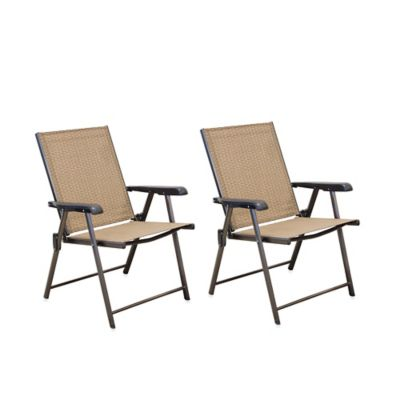 Hawthorne Folding Sling Chairs Set Of 2 Bed Bath Amp Beyond