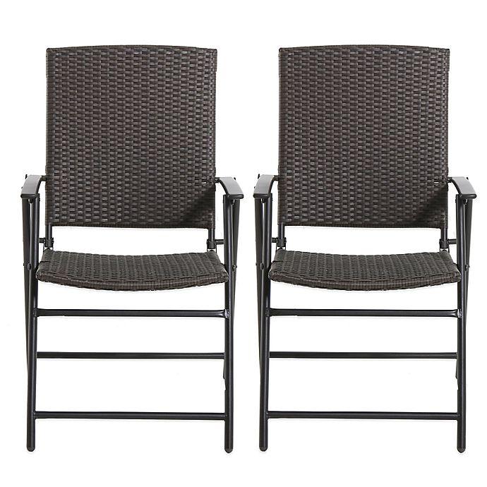 Sensational Brushed Wicker Folding Chairs Set Of 2 Bed Bath Beyond Cjindustries Chair Design For Home Cjindustriesco