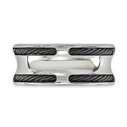 Edward Mirell Boulevard Titanium Double Memory Cable Men's Ring