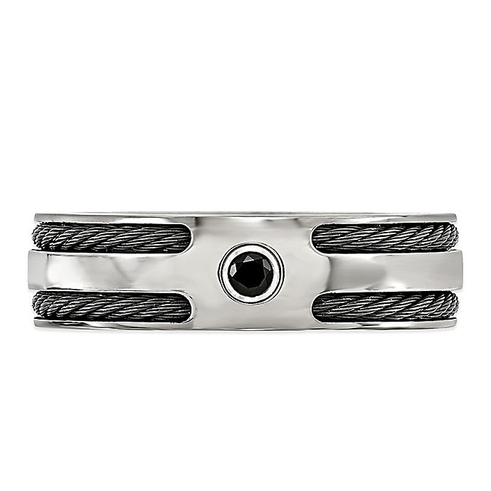 Alternate image 1 for Edward Mirell Titanium Black Spinel Double Memory Cable Men's Ring