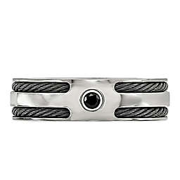 Edward Mirell Titanium Black Spinel Double Memory Cable Men's Ring