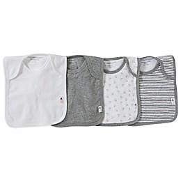 Burt's Bees Baby® Bee Essentials 4-Pack Organic Cotton Lap-Shoulder Bibs in Grey