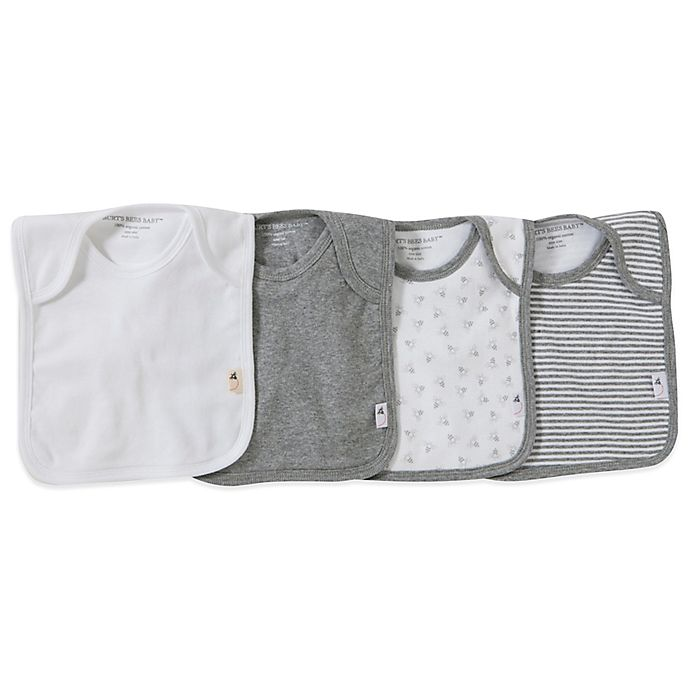 Alternate image 1 for Burt's Bees Baby® Bee Essentials 4-Pack Organic Cotton Lap-Shoulder Bibs in Grey