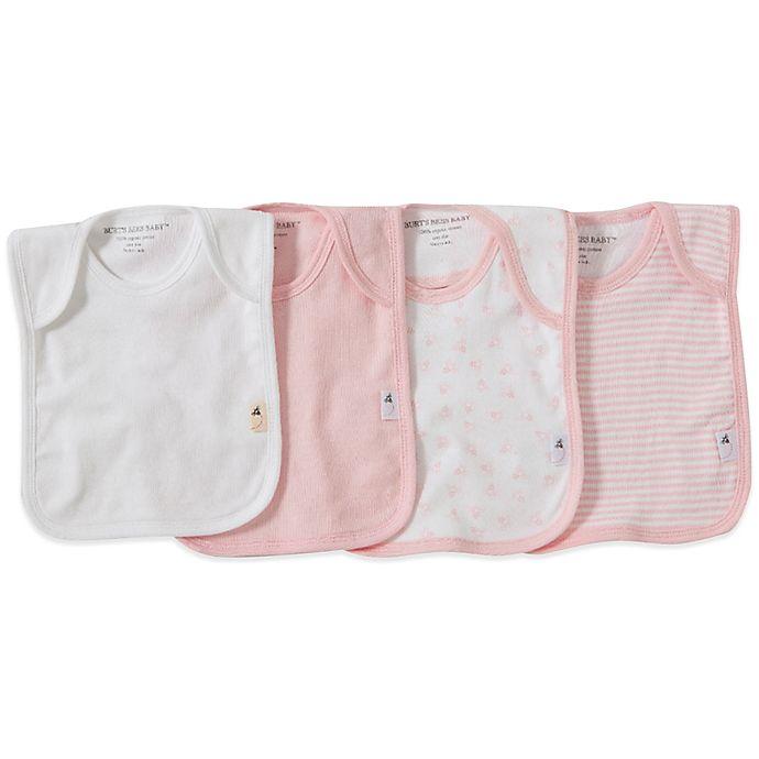 Alternate image 1 for Burt's Bees Baby® Bee Essentials 4-Pack Organic Cotton Lap-Shoulder Bibs in Pink