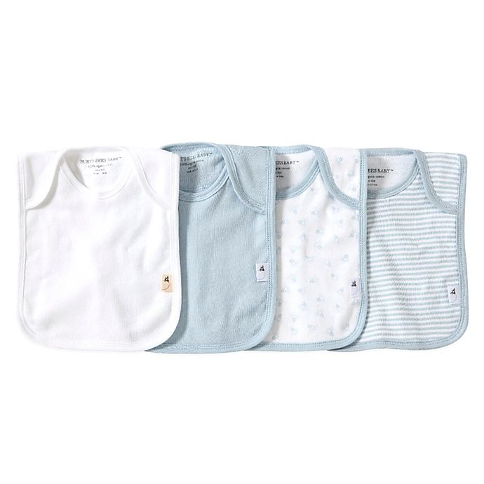 Alternate image 1 for Burt's Bees Baby® Bee Essentials 4-Pack Organic Cotton Lap-Shoulder Bibs in Sky