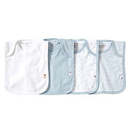Burt's Bees Baby® Bee Essentials 4-Pack Organic Cotton Lap-Shoulder Bibs in Sky