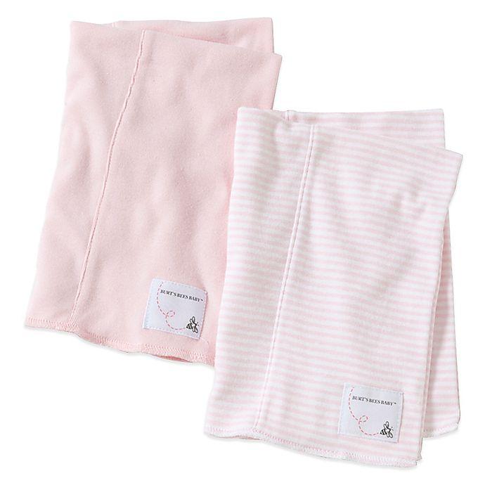 Alternate image 1 for Burt's Bees Baby® 2-Pack Organic Cotton Burp Cloths in Blossom/Stripe