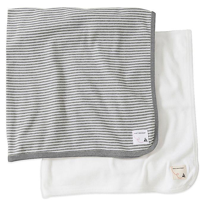 3b2b8e821 Burt's Bees Baby® 2-Pack Organic Cotton Blanket in Grey Stripe/Solid ...