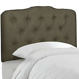 Skyline Furniture Tufted Queen Headboard in Velvet Pewter