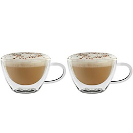 Luigi Bormioli Thermic Borosilicate Double-Wall Glass Cappuccino Mugs (Set of 2)