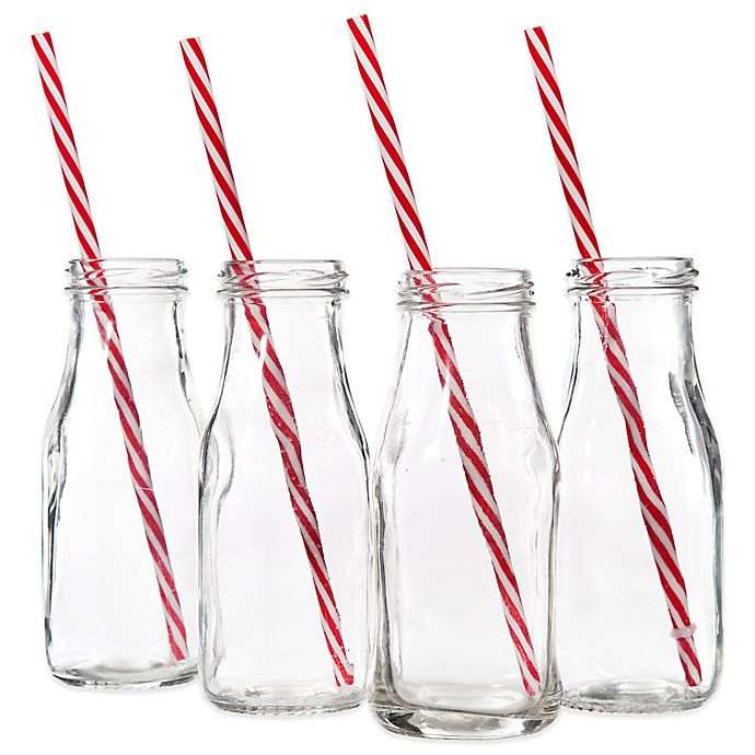 Alternate image 1 for Milk Bottles with Striped Straws (Set of 4)