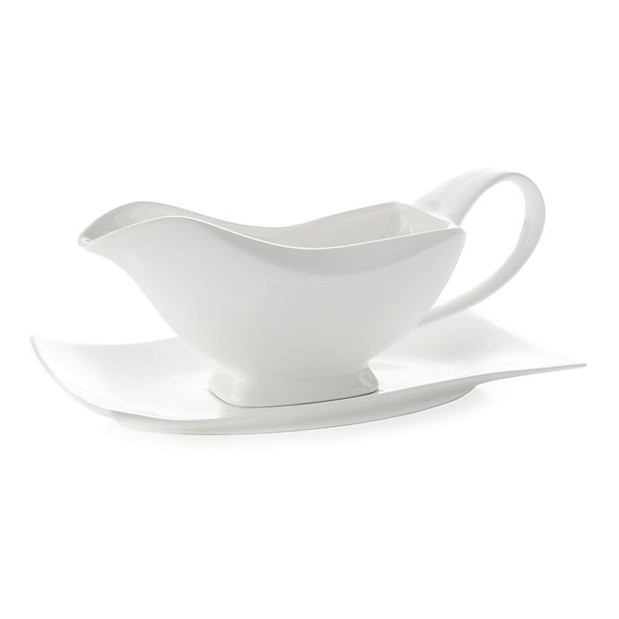 Alternate image 1 for Maxwell & Williams™ White Basics Motion Gravy Boat and Saucer