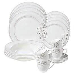 Lorren Home Trends Silver Flower 24-Piece Dinnerware Set