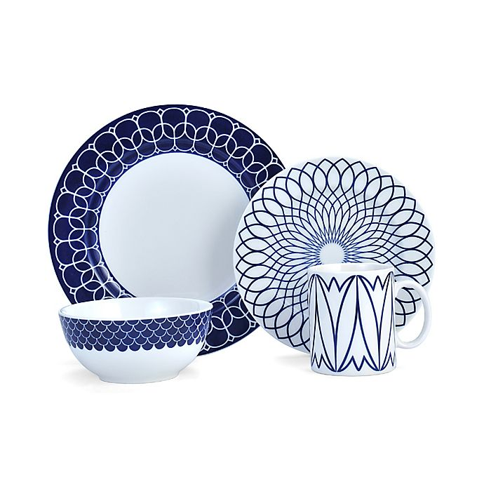Alternate image 1 for Mikasa® Lavina 4-Piece Place Setting in Cobalt