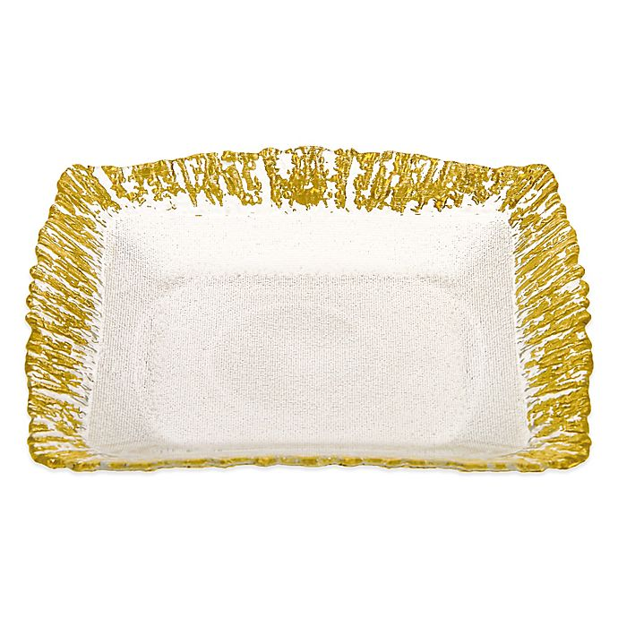 Alternate image 1 for Classic Touch Trophy Scalloped Square Plates in Gold (Set of 4)
