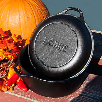 Lodge 5 qt. Cast Iron Double Dutch Oven