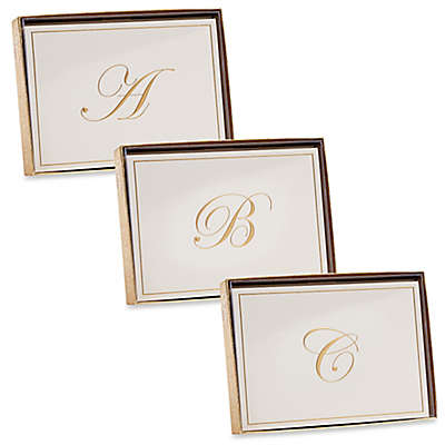 Caspari Gold-Embossed Letter Note Cards (Set of 8)