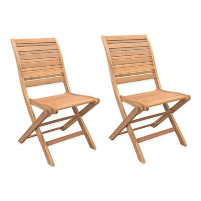 Westerly Acacia Wood Folding Chairs Set Of 2 Bed Bath