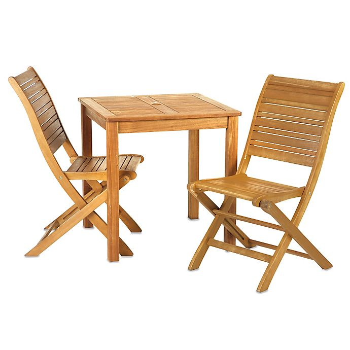 Alternate image 1 for Westerly 3-Piece Acacia Wood Bistro Set