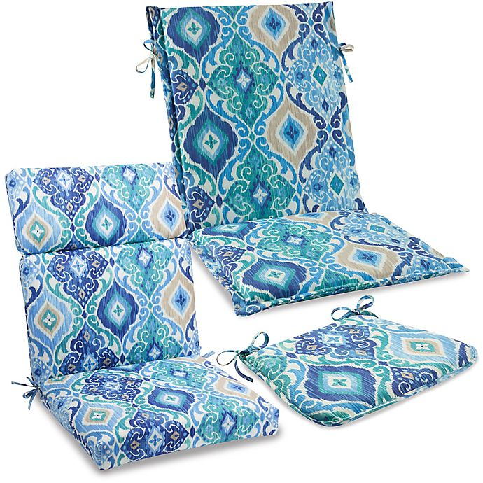 Outdoor Cushions And Pillows In Ikat Blue Bed Bath Beyond