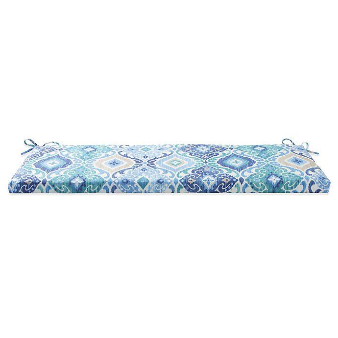 Groovy Outdoor Bench Cushion With Ties In Ikat Blue Bed Bath Beyond Inzonedesignstudio Interior Chair Design Inzonedesignstudiocom