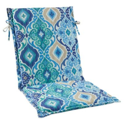 Outdoor Sling Cushion with Ties in Ikat Blue | Bed Bath ...