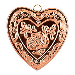 Old Dutch International Solid Copper Heart Rose Gelatin Mold