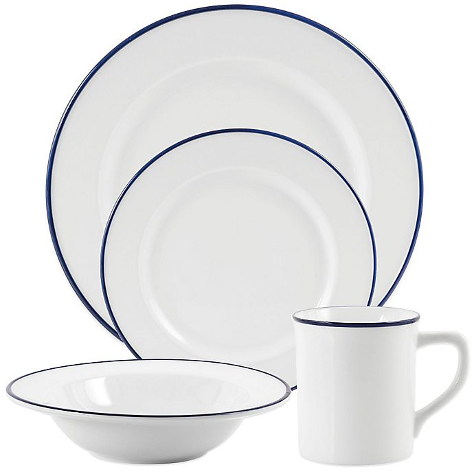 Alternate image 1 for Everyday White® by Fitz and Floyd® Blue Rim Dinnerware Collection