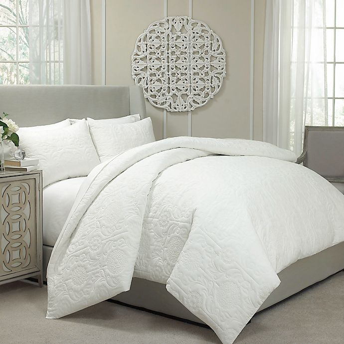 Alternate image 1 for Vue® Barcelona Convertible Queen Coverlet-to-Duvet Cover Set in Ivory
