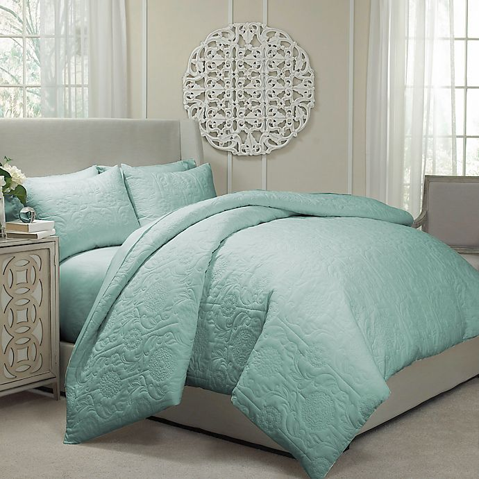 Alternate image 1 for Vue® Barcelona Convertible Queen Coverlet-to-Duvet Cover Set in Spa Blue