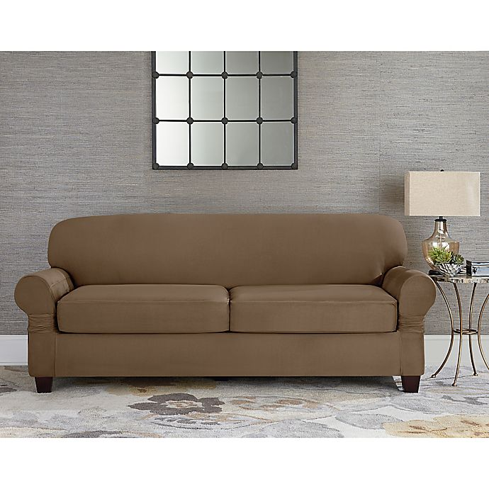 Sure Fit Designer Suede Individual Cushion 2 Seat Sofa Slipcover