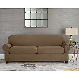 Sure Fit Reg Designer Suede Individual Cushion 2 Seat Sofa Slipcover