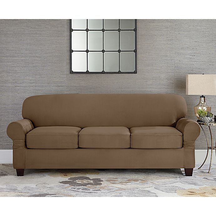 Sure Fit® Designer Suede Individual Cushion 3-Seat Sofa Slipcover ...