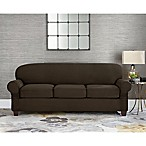 Sure Fit® Designer Suede Individual Cushion 3-Seat Sofa Slipcover in Chocolate