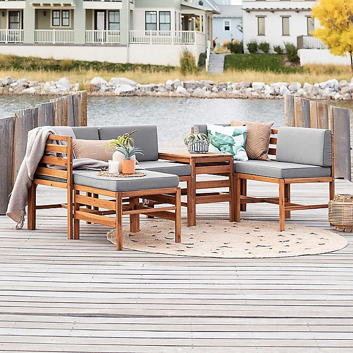 Alternate image 1 for Forest Gate Modular 5-Piece Acacia Wood Patio Sectional Set with Cushions