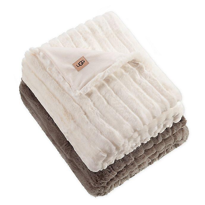 Alternate image 1 for UGG® Glenoak Ribbed Faux Fur Throw Blanket