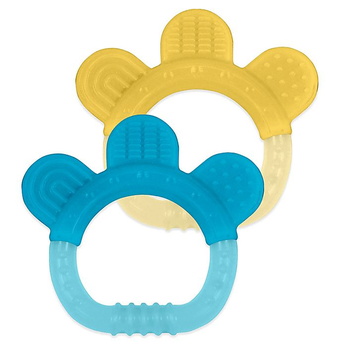 Alternate image 1 for green sprouts® 2-Pack Sili Paw Teether in Yellow/Blue