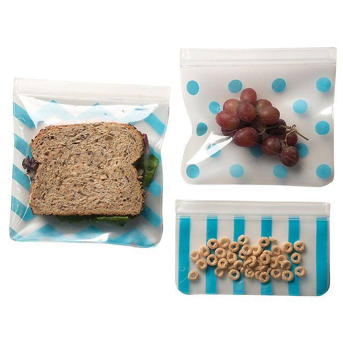 Alternate image 1 for J. L. Childress 3-Piece Reusable Snack Bag Set in Teal