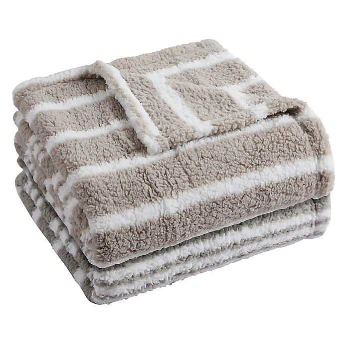 Alternate image 1 for Lucas Stripe Sherpa Throw Blanket