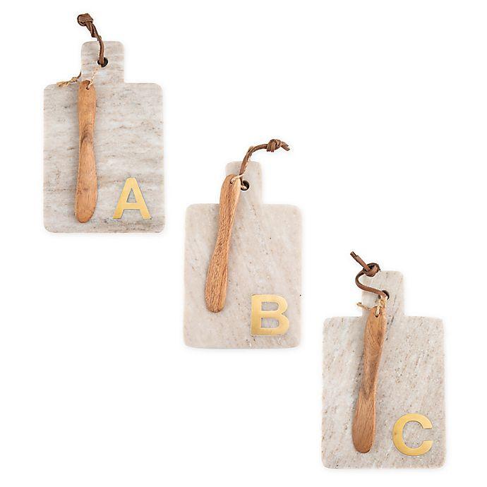 Alternate image 1 for Artisanal Kitchen Supply Marble Monogram Letter Serving Board with Spreader