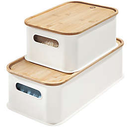 iDesign™ Storage Bin with Bamboo Lid in White