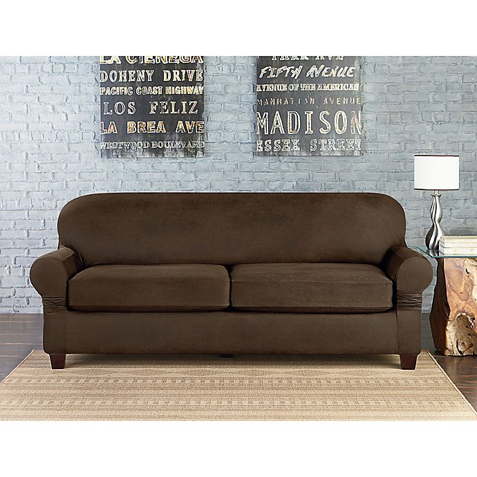 Sure Fit Vintage Faux Leather Furniture Slipcovers Bed Bath Beyond