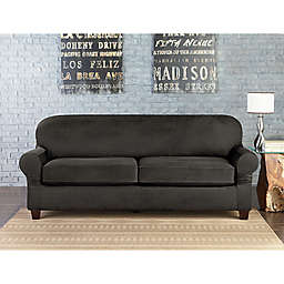 Sure Fit® Vintage Faux Leather Individual Cushion 2-Seat Sofa Slipcover in Grey
