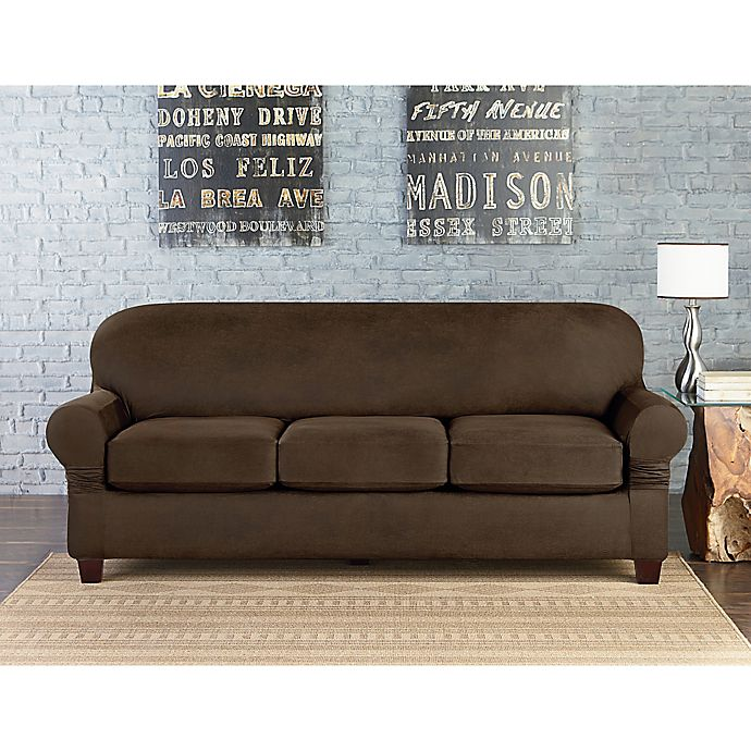 Sure Fit® Vintage Faux Leather Individual Cushion 3-Seat Sofa ...