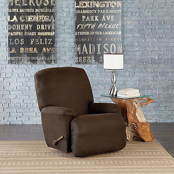 Brown SureFit Vintage Leather Chair Slipcover