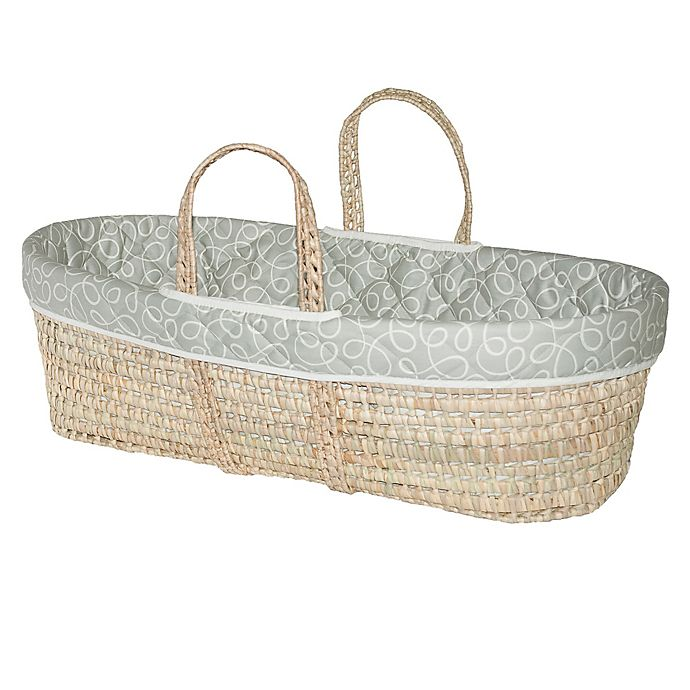 a9a3c35c606 Jolly Jumper® Swirl Quilted Moses Basket in Grey/White   Bed Bath ...