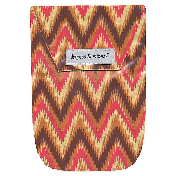 Alternate image 1 for Diapees & Wipees Laminated Storage Bag with Wipes Case in iKat Chevron
