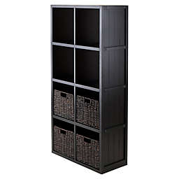 Winsome Trading Timothy 4-Tier Shelf with 4 Woven Baskets in Black/Chocolate