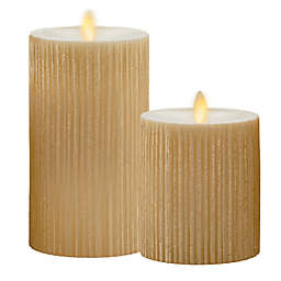Luminara® Moving Flame® Gold Ribbed Real-Flame Effect Pillar Candle